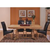Loire Twin Pedestal 5 Piece Solid Oak Dining Set in Light Oak Stain and Satin Lacquer