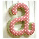 """a"" Fabric Letter in Pink / Green"