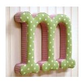 """m"" Fabric Letter in Pink / Green"