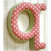 """q"" Fabric Letter in Pink / Green"