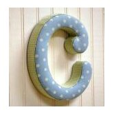 &quot;c&quot; Fabric Letter in Blue / Green