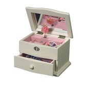 Abigail Girl's Wooden Ivory Musical Ballerina One Drawer Jewelry Box