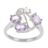 Sterling Silver with CZ and Amethyst Ring