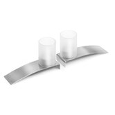 Lado Stainless Steel and Frosted Glass Votives (Set of 2)