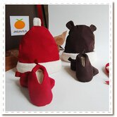 Organic Holiday Hat &amp; Bootie Set for Baby (0-6 mo.)
