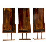 Handmade Sculptural Panels with Iron Stands in Autumn (Set of 3)