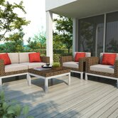 Beach Grove 5 Piece Sectional Deep Seating Group with Cushions