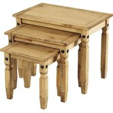 Corona Nest of Tables in Distressed Wax Pine