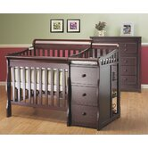Newport 2-in-1 Convertible Mini Crib N Changer Combo in Merlot