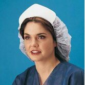 White O.R. Polypropylene Non-Woven Bouffant Cap With Heavyweight White Cardboard Visor (50 Per Box)