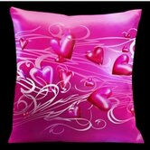 Valentines Pillow with Soft Pink Scrolls