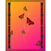 "Butterflies and Beauty Pink to Orange 48"" x 63"" Satin Throw"