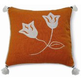 Embroidery Lily Pillow in Orange