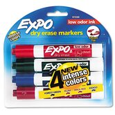 Low Odor Dry Erase Markers, Chisel Tip, Assorted, 4/Set