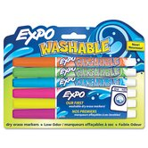 Washable Dry Erase Marker, Fine Point, Assorted, 6 per Pack