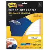 Super Sticky Removable File Folder Labels, 2/3 x 3 7/16, White, 750/Pack