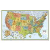 "Deluxe United States Laminated Wall Map, 50""x32"""