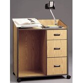 Mobile Podium with Two File Drawers and Storage Drawer