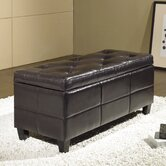 Tribeca Leather Storage Ottoman in Espresso