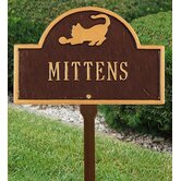 Pet Cat Mini Arch Marker One Line Lawn Marker in Antique Copper