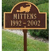 Pet Cat Mini Arch Marker Two Line Lawn Marker in Antique Copper