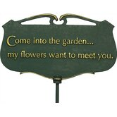 Flora and Fauna Come into the Garden Poem Plaque