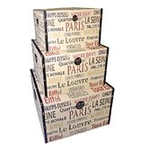 Trunk Parisian Typography (Set of 3)