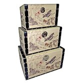 Trunks with Butterflies II (Set of 3)