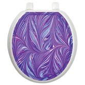 Classic Toilet Seat Applique with Purple Plumes Design