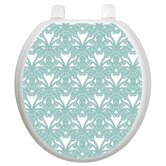Classic Toilet Seat Applique with Queen Ann's Lace Design Aqua