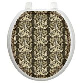 Toilet Seat Applique with Bell Flowers in Brown Design