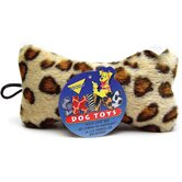 Medium Plush Leopard Skin Bone Dog Toy