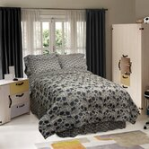 Flower Skulls Comforter Set in Black / Tan