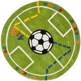 KinderLOOM Soccer Field Green Kids Rug