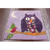 KinderLOOM Sleeping Owl Purple Kids Rug