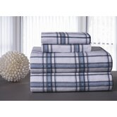 Heavy Weight Printed Flannel Sheet Set in Blue Plaid