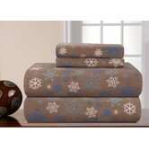 Heavy Weight Printed Flannel Sheet Set in Brown Snowflakes