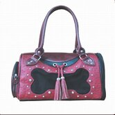 Faux Leather Handbag Pet Carrier in Burgundy Bones