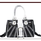 Faux Leather Handbag Pet Carrier in Black and White