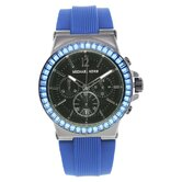 Women's Baguette Crystal Watch with Black Chronograph Dial