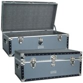 Classic Silver Trunk with Black Binding