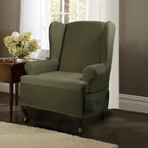 Carter Stretch Wing Chair Slipcover in Olive