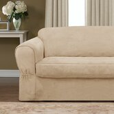 Piped Suede Separate Seat Sofa Slipcover