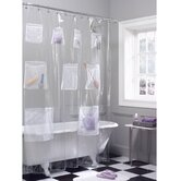 Mesh Pockets Vinyl Shower Curtain in Clear