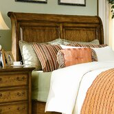 Blue Ridge Retreat Sleigh Headboard In Distressed Chestnut Oak
