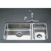 "Undertone 9.5"" Two Bowl Undermount Kitchen Sink with Squared Basin Style - All Options"