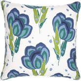 "Graphic Traffic Happy Poppies 18"" Decorative Pillow in Blue"