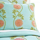 Edelweiss Crewel Duvet Cover and Shams in Aqua