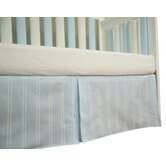 Blue with Cream Stripes Box Pleat Crib Skirt