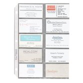 "Business Card Sleeves, Side Load, 11""x8-1/2"", 10/PK, Clear"